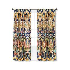 Mudhut Zaayan Geo Drape Curtain Panel, Multi-Colored ($30) ❤ liked on Polyvore featuring home, home decor, window treatments, curtains, contemporary window treatments, multi colored curtains, target curtain panels, multi colored curtain panels and colorful home decor