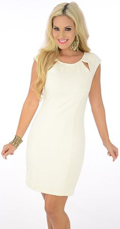 Paint The Town (Ivory)-18.80 -Go out and paint the town in this fun-loving dress. A geometric texture design adds a chic touch. Cut outs at the front and back with buttons and a hidden zipper provide a secure feel and a sexy peek of skin.