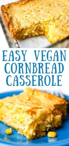 This easy vegan cornbread casserole is sure to be a family favorite! It'smoist, creamy, and fluffy - a cross between cornbread and a vegan corn souffle! Vegan Casserole, Cornbread Casserole, Vegan Cornbread, Whole Food Recipes, Cooking Recipes, Vegan Side Dishes, Vegan Comfort Food, Vegan Foods, Easy Vegan Food