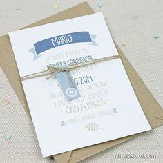 Invitación comunión - BANDEROLA BOY | This Is Kool © | www.thisiskool.com: