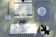 papeterie mariage by Crème de Papier - wedding stationery - black & white wedding - chevron