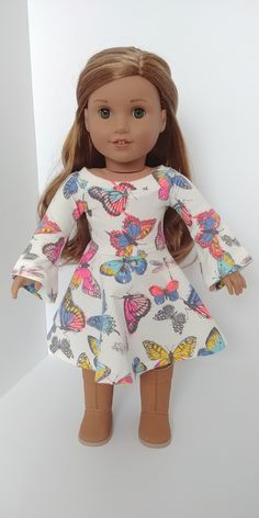 crafts Excited to share the latest addition to my shop: 18 inch doll clothes.Trendy spring or summer butterfly Dress Ropa American Girl, American Girl Doll Shoes, Custom American Girl Dolls, American Girl Doll Pictures, American Girl Clothes, Baby Doll Clothes, Barbie Clothes, Butterfly Print Dress, America Girl