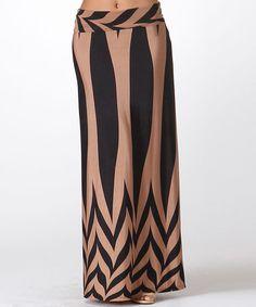 Look at this #zulilyfind! Tan & Black Abstract Maxi Skirt #zulilyfinds