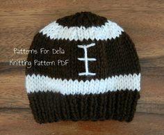 Football Hat  KNITTING PATTERN  easy beginner flat knit beanie newborn infant toddler child adult less than $4!
