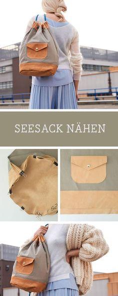 DIY-Anleitung für einen genähten Seesack, Taschen nähen, mit Leder nähen / diy sewing tutorial for a backpack made of leather, sewing pattern via DaWanda.com