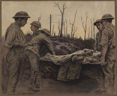 Stretcher Bearers in a Trench  Painted by Richard Mathews in 1918 Artist Richard Mathews was commissioned as an officer in the Canadian Expeditionary Force and attached to the Medical Corps.  Beaverbrook Collection of War Art CWM 19710261-0833