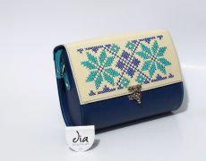 Geanta piele naturala brodata manual Leather Bags Handmade, Continental Wallet, Shoulder Bag, Embroidery, Traditional, Needlework, Needlepoint, Shoulder Bags, Embroidery Stitches