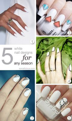 White Nails - click for more designs.