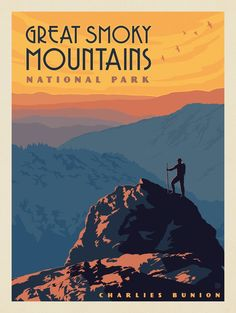 Anderson Design Group – 61 American National Parks – Great Smoky Mountains N. American National Parks, National Parks Map, National Park Posters, Carlsbad Caverns National Park, Smoky Mountain National Park, Grand Canyon National Park, Mount Rainier National Park, Great Smoky Mountains, Vintage Travel Posters