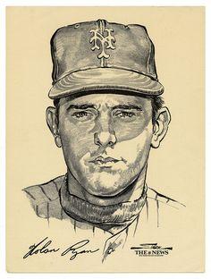 Nolan Ryan by Bruce Stark Baseball First, No Crying In Baseball, Mets Baseball, Baseball Wall, Angels Baseball, Baseball Cards, Ny Mets, New York Mets, Mlb Players