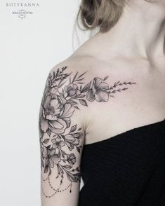 Half Sleeve Floral Tattoo by Anna Botyk, ., Half Sleeve Floral Tattoo by Anna Botyk, - There are numerous things which might ultimately entire ones garden, including an existing white colored picket fence or even a yard filled with stunning. Tattoos Schulter, Tattoo Schulter Frau, Tattoo Girls, Girl Tattoos, Tattoos For Guys, Tatoos, Couple Tattoos, Tattoos For Women Half Sleeve, Shoulder Tattoos For Women