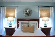 coastal bedroom cherry wood | bedroom ... love how the color palette works with the darker cherry ...