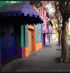 The colorful streets of Bellavista Neighborhood, Santiago de Chile. Barrio Bellavista, Chile