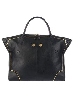 Black leather shopper from Alexander McQueen featuring two top handles and gold tone hardware.