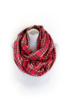 Christmas Plaid Infinity Scarf Tartan Red and by Vintage Dutch Girl Etsy