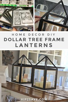 Make these trendy decorative lanterns by using photo frames from Dollar Tree to display candles inside or change up your decor seasonally! #dollartree #diy #crafts #frugal #budget #lanterns #homedecor #dollarstore #decor #decoration Dollar Tree Frames, Dollar Tree Decor, Dollar Tree Store, Dollar Store Crafts, Dollar Stores, Tree Lanterns, Lanterns Decor, Home Decor Hacks, Diy Home Decor