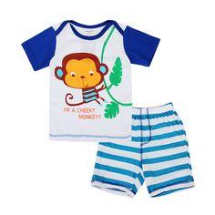 Sale 26% (8.99$) - 2015 New Lovely Monkey Baby Children Boy Pure Cotton Short Sleeve   Shorts Suit