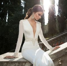 Sexy Elegant Plunging Wedding Dress