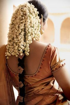 bridal hair - cascade of jasmines in the hair
