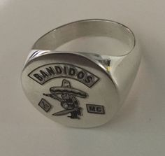 Mens Womans Round Silver 925 Solid Ring Bandidos MC Motorcycle Club Engrave Size #RiverYa #Signet