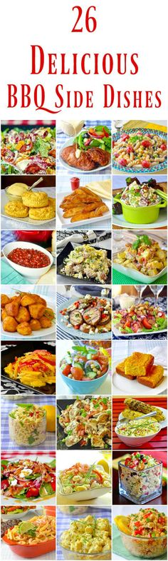 26 Best Barbecue Side Dishes – Just in time for grilling season! So much to choose from! From cornbread to potato salads, baked beans and beyond; make your next backyard BBQ something special. Barbecue Sides, Barbecue Side Dishes, Dinner Side Dishes, Barbecue Recipes, Grilling Recipes, Healthy Grilling, Picnic Recipes, Picnic Ideas, Picnic Foods