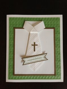 Communion card shirt and tie First Communion Cards, Première Communion, First Holy Communion, Confirmation Cards, Baptism Cards, Scrapbook Paper Crafts, Scrapbook Cards, Christian Cards, Masculine Cards