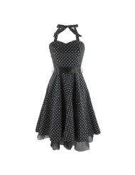 Neckholder-Kleid MINI DOTTED DRESS black/white
