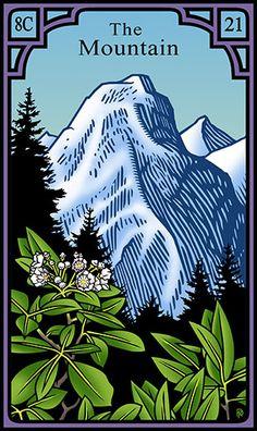 21 - The Mountain - Burning Serpent Oracle par Robert M Place & Rachel Pollack