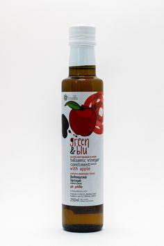 ''GREEN N BLU'' Balsamic Vinegar Condiment Infused with Apple Balsamic Vinegar, Drink Bottles, Apple, Drinks, Green, Apple Fruit, Drinking, Beverages, Drink
