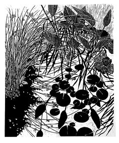 Kristin Reiber Harris. Rushes and Water Lilies. Woodcut on paper