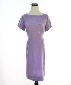 Lilac Embroidered Dress// 40s 50s Vintage Dress // by CoolMintMoon, $52.00