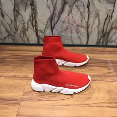 2018 Really Cheap Womens Balenciaga Speed Knit Trainers 2018 New Face Red  Contrasting Textured White Sole 6d0f98f218