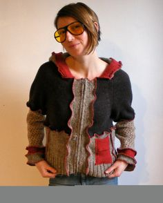 Sweater Serged, Repurposed/ Recycled/ Upcycled, Women's Wool Hoodie, Size Medium