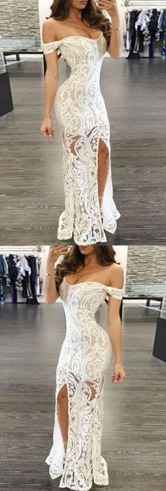 White Prom Dress - Sheath Off-the-Shoulder Long Lace with Split,447