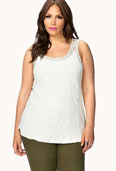 Forever 21+- A sheer lace tank featuring beaded trim. Round neckline. Curved hem. Unlined. Lightweight.