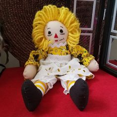 Raggedy Ann 10 Inch Doll Sporting A John Deere Outfit . Hair Yarn, Raggedy Ann And Andy, Show And Tell, Vintage Patterns, Ronald Mcdonald, To My Daughter, Dolls, Sports, Handmade