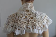SALE Ivory White Wedding Crochet Beaded Shawl by levintovich