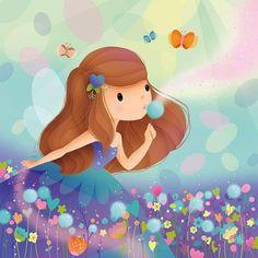 Dandelion by Elen Lescoat Wallpaper Nature Flowers, Cute Wallpaper Backgrounds, Cute Wallpapers, Art Drawings For Kids, Cute Drawings, Art For Kids, Little Girl Illustrations, Illustration Girl, Cute Cartoon Girl