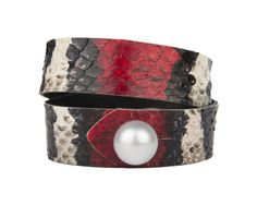 "Limited Edition Hand Dyed Python Skin 14 mm Freshwater Pearl Premium Leather Backing Standard 7"" Wrist Size"