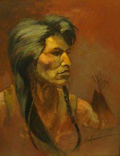 Shoshone Warrior by Harold Hopkinson, 20x16 Oil on Canvas
