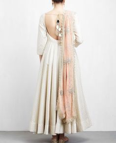 Anarkali dress pattern - Off White and Peach Anarkali Set Party Wear Indian Dresses, Indian Gowns Dresses, Indian Fashion Dresses, Dress Indian Style, Indian Wedding Outfits, Indian Designer Outfits, Indian Outfits, Flapper Dresses, Lehenga Designs