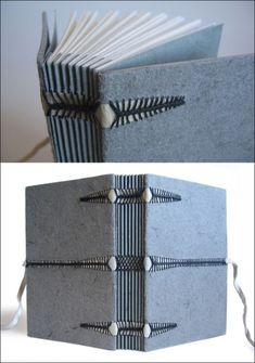 Book designed and bound by Renato Alarcao @zoopress during the workshop Caterpillar Stitch, at the CBA  via https://www.ibookbinding.com/blog/galleries/book-binding-signatures-designs-stitching-ideas/