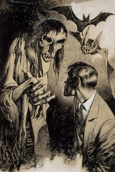 EDD CARTIER (American, b. 1914). Confronting the Witch, pulpmagazine interior story illustration. Ink and conte crayon .