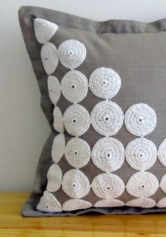 Grey scatter cushion cover with white lace by ScarletPincushion