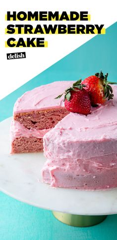 This is the best thing you can do with strawberries. #food #baking #easyrecipe #cake #strawberries
