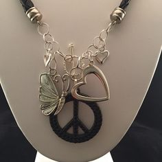 Heart butterfly silver and black leather necklace by HaydeeDesigns on Etsy https://www.etsy.com/listing/223554639/heart-butterfly-silver-and-black-leather #handmade #jewelry #etsyshop #jewelrydesign #jewelryonetsy