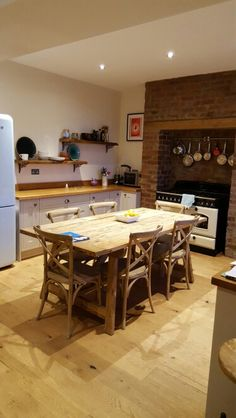 Range Victorian Exposed Brick Chimney Breast Knock Through Kitchen Country Table