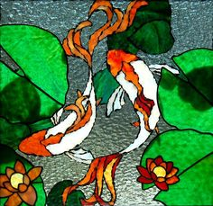 love these koi fish - almost liooks like they're underwater b/c the lines aren't crisp