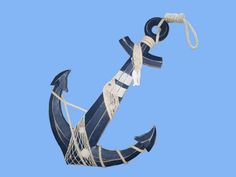 Anchor w/ Hook Rope and Shells Wooden Rustic Blue