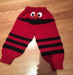 Elmo pants finished. Will make the mouth smaller next time. Great pattern from Ravelry. Mindy,s  Monster Pants.